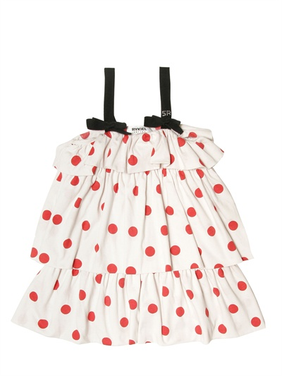 RYKIEL ENFANT - COTTON JERSEY FRILL DRESS