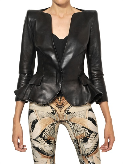Use the silhouette of a peplum to balance a bold print bottom, like to to die for Alexander McQueen Nappa leather peplum jacket