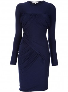 Grab the Katie Holmes CARVEN indigo ruched stretch-wool dress available at farfetch.com