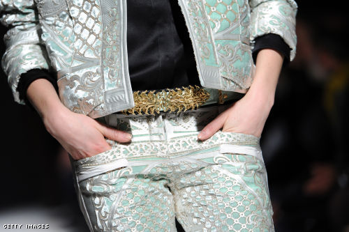 Balmain lavishes on the embellishments and simplifies the silhouette