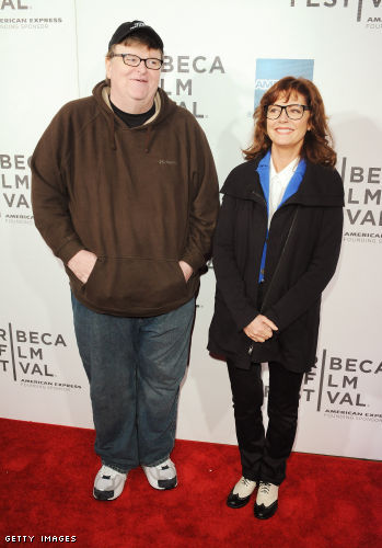 Filmmaker Michael Moore and actress Susan Sarandon attend Tribeca Talks Directors Series during the 2012 Tribeca Film Festival