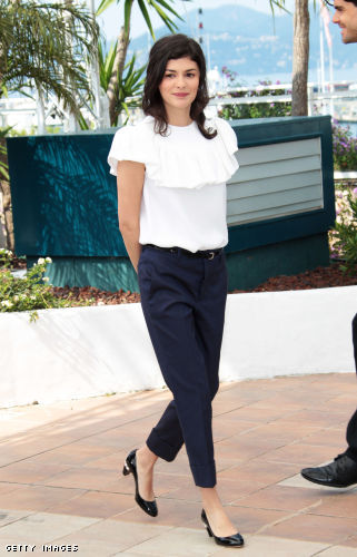 One last look at Audrey Tautou's easy fitting pants and a girly blouse for French chic élan