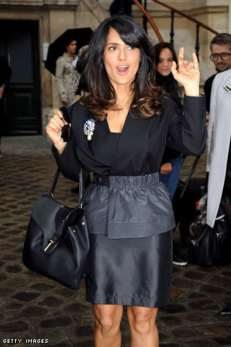 Salma Hayak at Paris Fashion Week