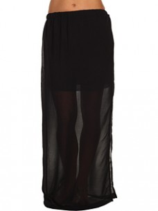 We found this fab STEAL of a sheer black maxi skirt at Zappos for some cheap chic
