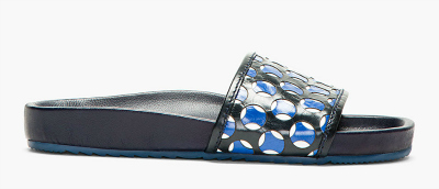 MARC JACOBS BLUE & BLACK PERFORATED SLIP-ON SANDALS