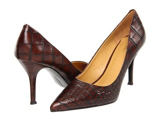 Nine West Flax- brown moc croc pumps