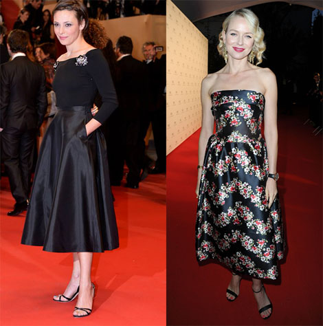 Jasmine Trinca in Miu Miu (left) and Naomi Watts in Dolce & Gabbana (right)