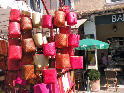 Decadendant neon by way of these hand-made straw bags with just the right amount of brightness to be flattering.