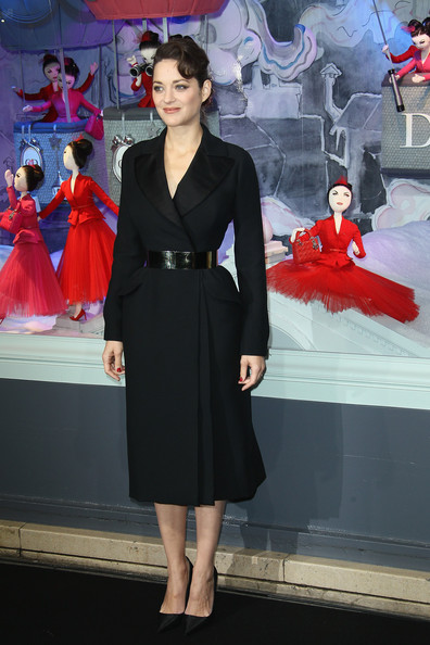 Marion Cotillard, looking smart and stunning at the Printemps Paris Holiday Windows