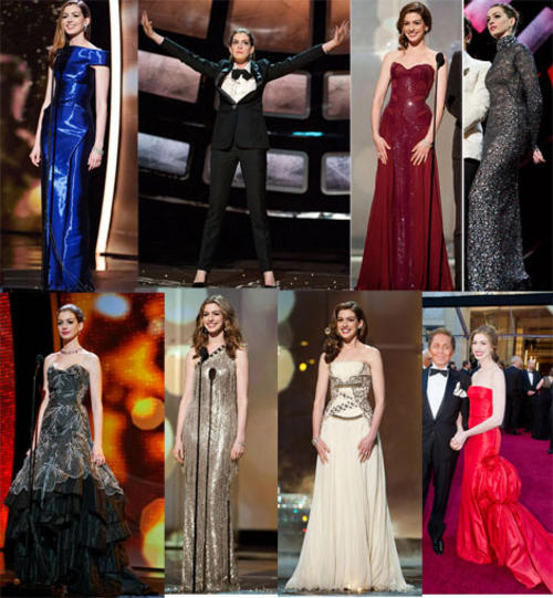 Anne Hathaway Oscar Dresses- All 7 of Them, Plus 1 Pants