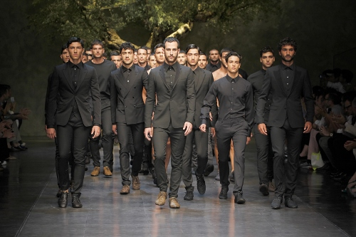 An army of gray suiting at Dolce & Gabbana