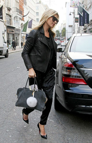 Kate Moss in a Marc by Marc Jacobs black leather jacket