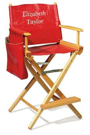 DIRECTOR'S CHAIR Red leather, with white leather inlay 'Elizabeth Taylor' on front, 'Dame' on back Estimate: $2,000 - 3,000