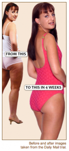 WOW: The Daily Mail reader's amazing results after 4 weeks of taking the Karin Herzog anti-cellulite Dymanic Duo challenge.
