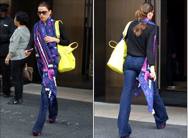 Sofia Vergara was spotted wearing the HABITUAL Hayworth Flare jeans in Ablaze for the second time while in New York City