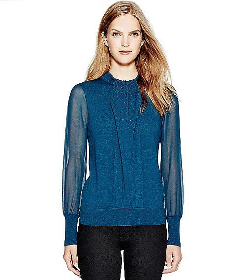 Tory Burch Abitha Sweater in Chanukah blue- right off the runway. Ok, so I renamed the color.