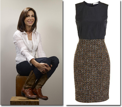 Levi jeans and vintage cowboy boots are Alison's favorite casual look and her go-to Carven dress for business.