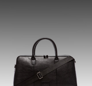 Viparo Spencer Leather Duffle Bag in Black