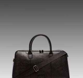 Viparo Spencer Leather Duffle Bag in Black