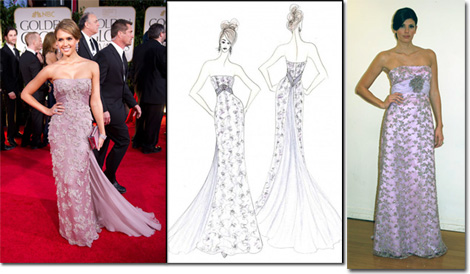 Jessica Alba in Gucci on the red carpet and the Faviana inspired gown from sketch to pattern room