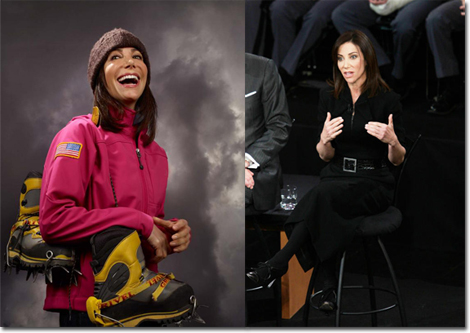 From outdoorsy extreme to a CNBC panel wearing Rouland Mouret.