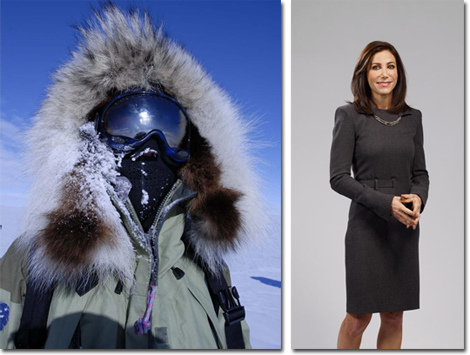 Alison Levine in her Polar look and in a Jean Paul Gaultier business chic dress.
