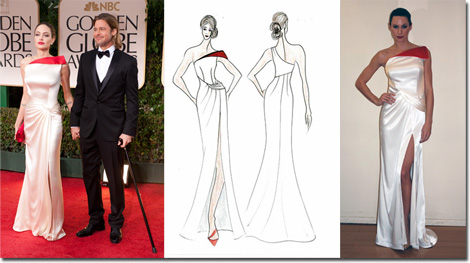 Angelina Jolie in Versace with Brad Pitt on the red carpet, and the Faviana inspired gown from sketch to sewing room.
