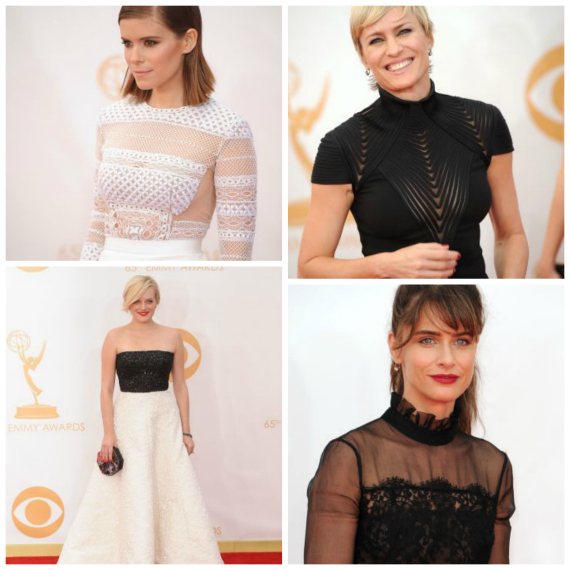 Kate Mara in J Mendel, Robin Wright in Ralph Lauren. Elisabeth Moss in Andrew Gn, Amanda Peet in black lace