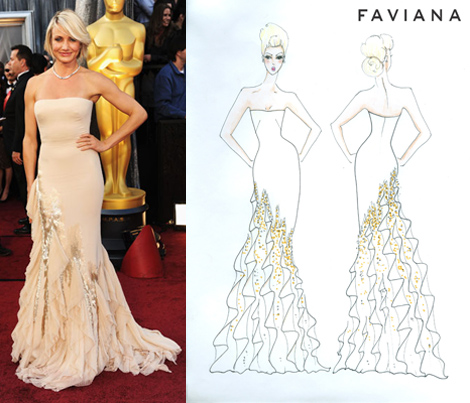 Cameron Diaz on the red carpet and the Faviana inspired dress