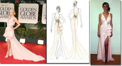 Charlize Theron in Dior Haute Couture on the red carpet. The Faviana inspired sketch, and the garment in the Faviana sample room