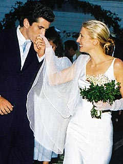 Carolyn Bessette on her wedding day in 1996