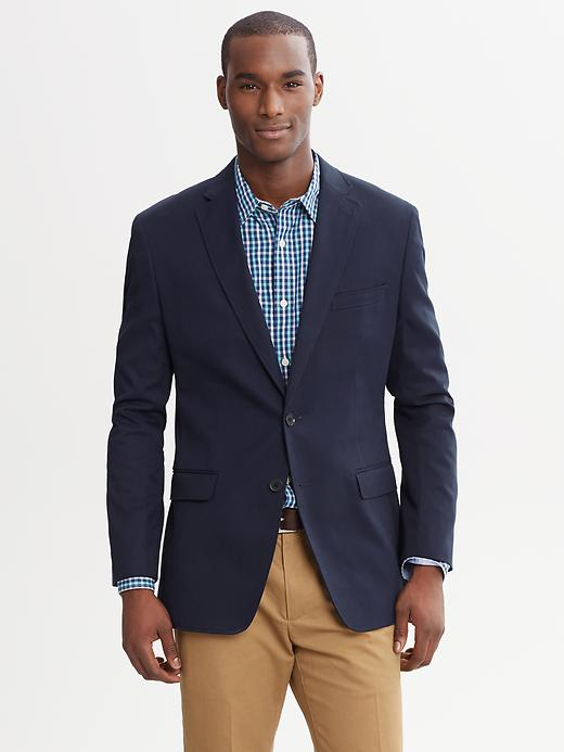In a more casual industry, something like this Banana Republic Tailored Fit Elbow Patch Blazer  is perfectly suitable to wear for a job interview lunch.
