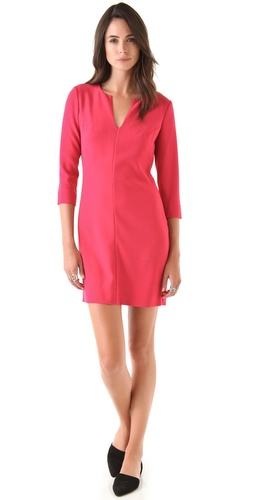 Same Diane von Furstenberg  Aurora Mini Dress in Pink at Shopbop- Chic with effortless appeal, this DVF dress has a feminine, figure-skimming silhouette with darts that shape the bodice and a split V neckline that shows off the collarbones.