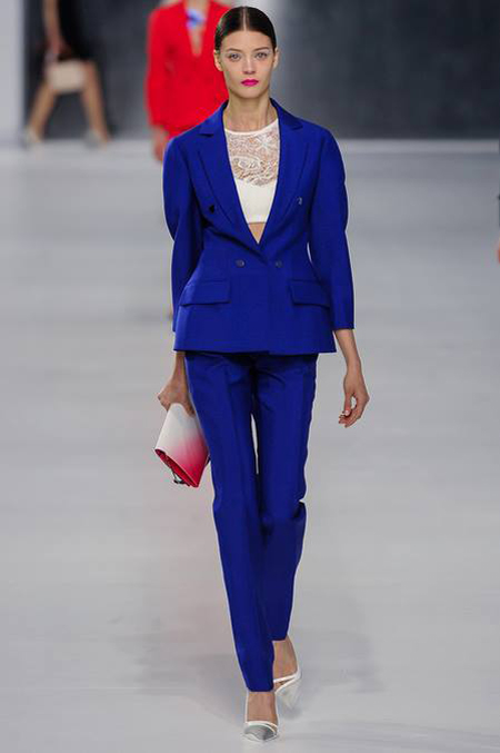 The bold colored pantsuit at Dior resort 2014