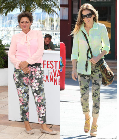 Flora & Fauna print pants: Annet Malherbe at Cannes and Sarah Jessica Parker in NY with her Ikat print Cleobella 'Inika' bag