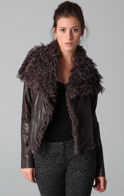Why not add something bold like this Georgie  Faux Leather Mayra Jacket with Faux Fur Collar?