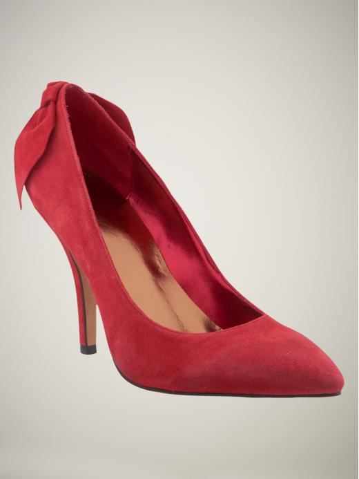 GAP suede bow pumps in red