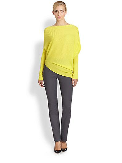 St. John Rib-Knit Asymmetrical Wool Sweater