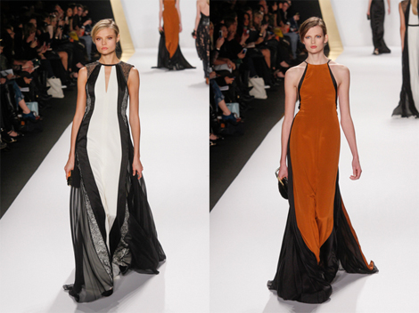 Simple styling and long, lean vertical lines make both these J. Mendel gowns perfect for petite Sally Field.
