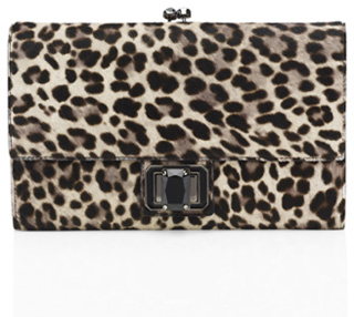 Judith Leiber Veronika Leopard printed haircalf envelope clutch