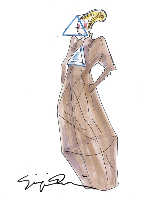 Giorgio Armani original sketch of the costume Lady Gaga will wear on her Born This Way Ball tour