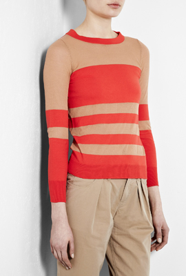 Go tonal with shades of coralish reds or use it as a sweet accent to camel, like this Chinati Stripe Sweater by Marc By Marc JacobsGo tonal with shades of coralish reds or use it as a sweet accent to camel, like this Chinati Stripe Sweater by Marc By Marc Jacobs