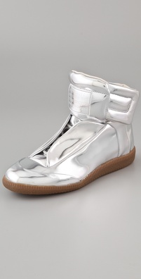 Maison Martin Margiela Metallic Flat Sneakers in silver or gold at Shopbop