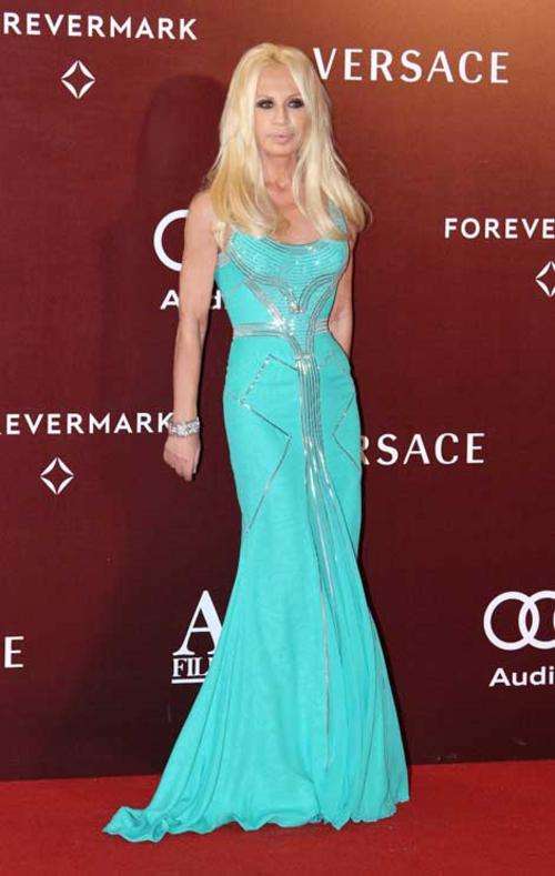 Donatella Versace wears her own design to present the Best Costume Designer Award for the Taiwanese film