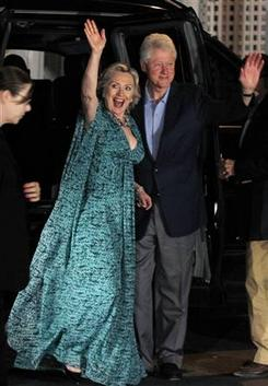The Today Show reports, Former U.S. President Bill Clinton and his wife, U.S. Secretary of State Hillary Clinton, wave as they arrive for an after-party for their daughter Chelsea Clinton's pre-wedding dinner in Rhinebeck, New York.