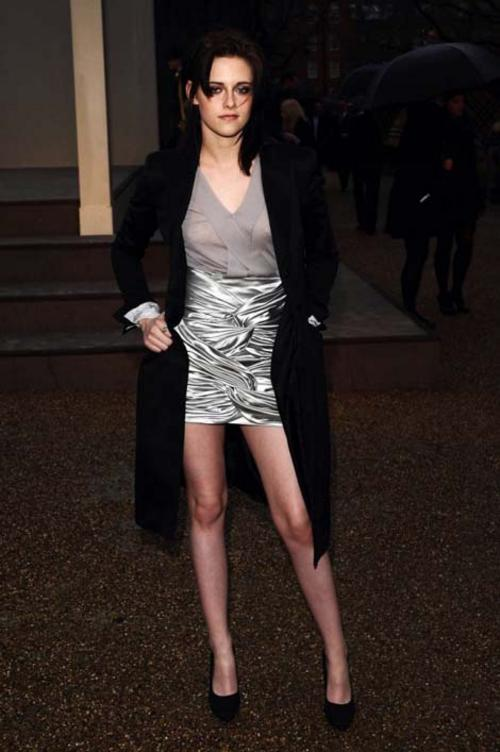 Kristen Stewart wearing Burberry at Burberry Autumn Winter 2010 Womenswear Show in London today
