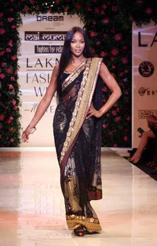 Naomi Campbell in Sabyasachi at Lakme Fashion Week