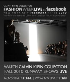 Calvin Klein live stream fashion show