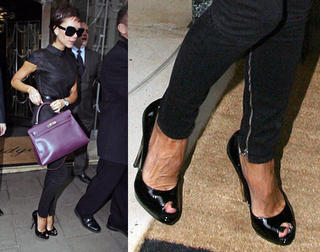Victoria Beckham leaving Claridges Hotel in London wearing the Open Toe Flash Pumps from DSQUARED2.