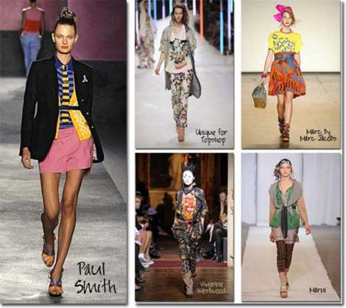 Mixed prints & patterns from the Spring 2010 runways- photos:catwalking